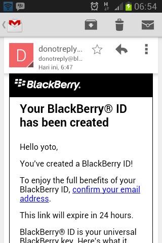 your blackberry id has been created