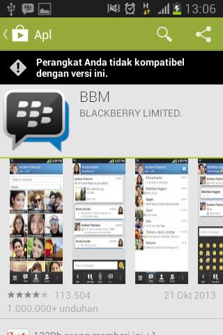 Aplikasi BBM untuk Android tidak kompatibel untuk Android tipe tertentu