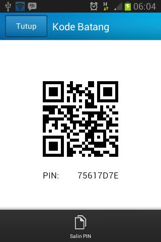 Screenshot PIN BB dari Aplikasi BBM untuk Android