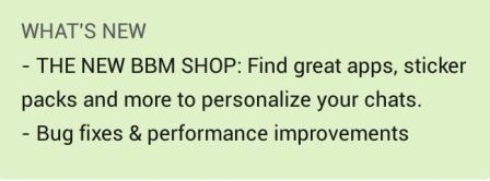 new features  on BBM 2.5.1.46